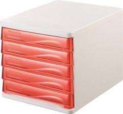 HELIT fehér/áttetsző piros 5 fiókos műanyag irattároló