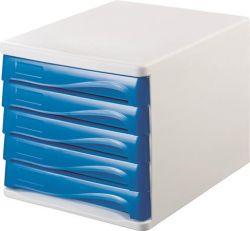 HELIT fehér/kék 5 fiókos műanyag irattároló