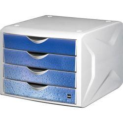 """HELIT """"Chameleon"""" fehér-kék 4 fiókos műanyag irattároló"""