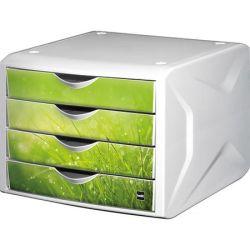 """HELIT """"Chameleon"""" fehér-zöld 4 fiókos műanyag irattároló"""