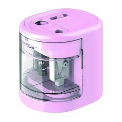 """Rapesco """"PS12-USB"""", kétlyukú, asztali, elemes, USB töltővel, rózsaszín hegyező"""