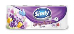 Sindy seasons/spring flowers 3 rétegű toalettpapír (8+2 tekercses)