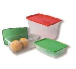 Szögletes 3 db-os ételtartó doboz szett fedővel (0,5 l, 0,8 l, 1,2 l)