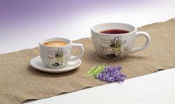 Levendula mintás 25 cl kávéscsésze és alj