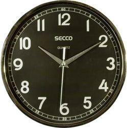 SECCO 24,5 cm króm színű keretes falióra fekete számlappal