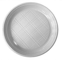 Műanyag lapos tányér 17 cm (20 db) fehér színű