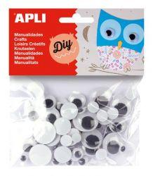 APLI Creative fekete-fehér kör alakú mozgó szem (75 db)