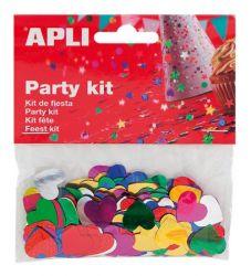 APLI 15 mm metál vegyes színek szív konfetti