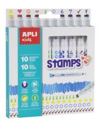 Apli Duo Stamps 10 különböző színű és mintájú filctoll készlet nyomdával