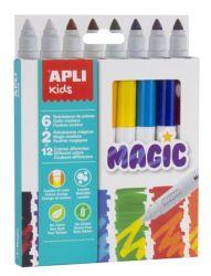 """APLI """"Kids Magic"""" 6+2 különböző szín 7,5 mm filctoll készlet"""
