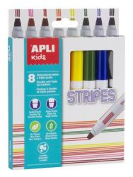 Apli Stripes 8 különböző színű filctoll készlet