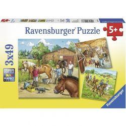 Ravensburger 092376 Lovasiskola 3x49 darabos puzzle