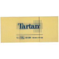 TARTAN 38x51 mm 100 lapos sárga öntapadó jegyzettömb (12 tömb/csomag)