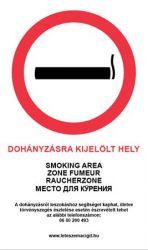 Dohányzásra kijelölt hely információs matrica 4 nyelven