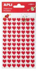 APLI filc anyagú piros szívek matrica