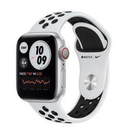 "Apple Watch Nike Series 6 Oled 1.57"" 40mm GPS 4G platina-fekete sportszíjas okosóra"