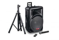 Mac Audio PA 1500 1000 W, Bluetooth 3.0 fekete nagyteljesítményű hangrendszer vezeték nélküli mikrofonnal