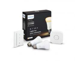 PHILIPS HUE Ambiance Starter kit 10W A19 E27 2200-6500K DIM + DimSwitch 2 db fehér szabályozható LED izzó
