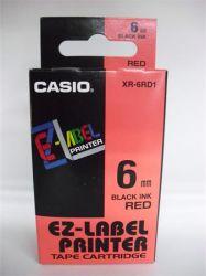 CASIO 6 mm x 8 m  piros-fekete feliratozógép szalag