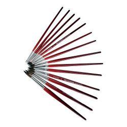 PULSE no. 1 kerek fa piros ecset (12 db/csomag)