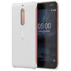 Nokia 5 karbon mintás műanyag fehér hátlap tok