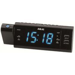 Akai ACR-3888 USB töltési lehetőség, AM/FM PLL fekete rádiós ébresztőóra vetítővel