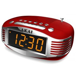 Akai CE-1500 AM / FM PLL piros rádiós ébresztőóra