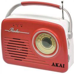 Akai APR-11R USB, SD kártya, AM / FM piros-fehér hordozható rádió