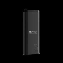 CANYON CNE-CPB05B 5000 mAh, Li-Polymer, Micro USB, USB C, USB A fekete powerbank