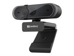 Sandberg Webcam Pro 5MP Full HD 30 FPS USB 2.0 Fekete webkamera