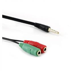 Sbox SX-535919 2X 3,5mm anya - 3,5mm apa, 0,2m Jack elosztó fekete kábel