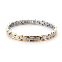Jade Luxury 4  S-es (17 cm) mágneses-turmalinos ezüst-arany karkötő
