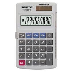 Sencor SEC 229/10 10 számjegyes kijelző, elem és napelem, szürke számológép