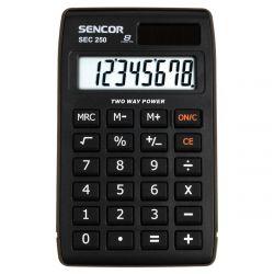 Sencor SEC 2500 8 számjegyes kijelző, elem és napelem, fekete zsebszámológép