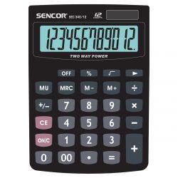 Sencor SEC 340/12 12 számjegyes kijelző, elem és napelem, fekete számológép