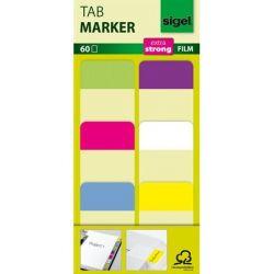 SIGEL 25x38 mm megerősített színes szélű vegyes színek jelölőcímke (6x10 db)