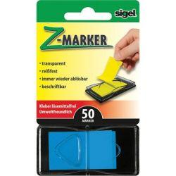 """SIGEL """"Z"""" 25x45 mm műanyag kék jelölőcímke (50 lap)"""