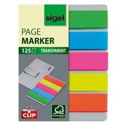 "SIGEL ""Clip"" 12x50 mm műanyag vegyes színű jelölőcímke klippel (5x25 lap)"