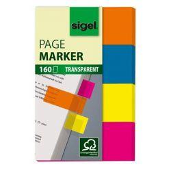 """SIGEL """"614"""" 20x50 mm műanyag vegyes színű jelölőcímke (4x40 lap)"""