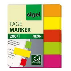 """SIGEL """"Neon Mini"""" 12x50 mm papír vegyes színű jelölőcímke (5x40 lap)"""