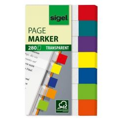"SIGEL ""Clear Mini"" 20x50 mm műanyag vegyes színű jelölőcímke (7x40 lap)"