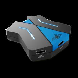 Spirit of Gamer SOG-CONV1 3x USB-A, 2x USB-C, Nintendo/PS4/PS3/Xbox One, fekete-kék egér/billentyűzet adapter konzolokhoz