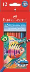FABER-CASTELL hatszögletű 12 különböző színű aquarell színes ceruza készlet ecsettel