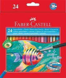 FABER-CASTELL hatszögletű 24 különböző színű aquarell színes ceruza készlet ecsettel