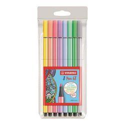 """Stabilo """"Pen 68"""" 1 mm, 8 pasztell színű rostirón készlet"""