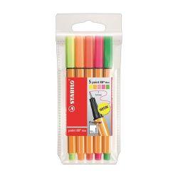 """Stabilo """"Point 88 Mini Neon"""" 0,4 mm, 5 különböző színű tűfilc készlet"""