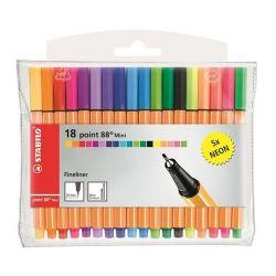 """Stabilo """"Point 88 Mini Neon"""" 0,4 mm, 18 különböző színű tűfilc készlet"""