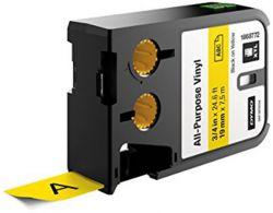 """DYMO """"XTL"""" 19 mm x 7 m sárga-fekete  vinil feliratozógép szalag"""