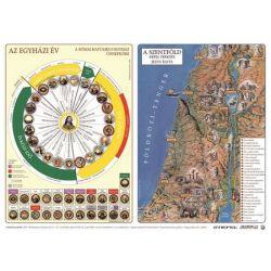 """STIEFEL """"Katolikus egyházi év és Újszövetség térképe / Ószövetség"""" A3 kétoldalas könyökalátét"""