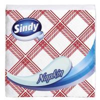 Sindy Napkin 33x33 cm piros-fehér kockás (45 lap) hajtogatott szalvéta